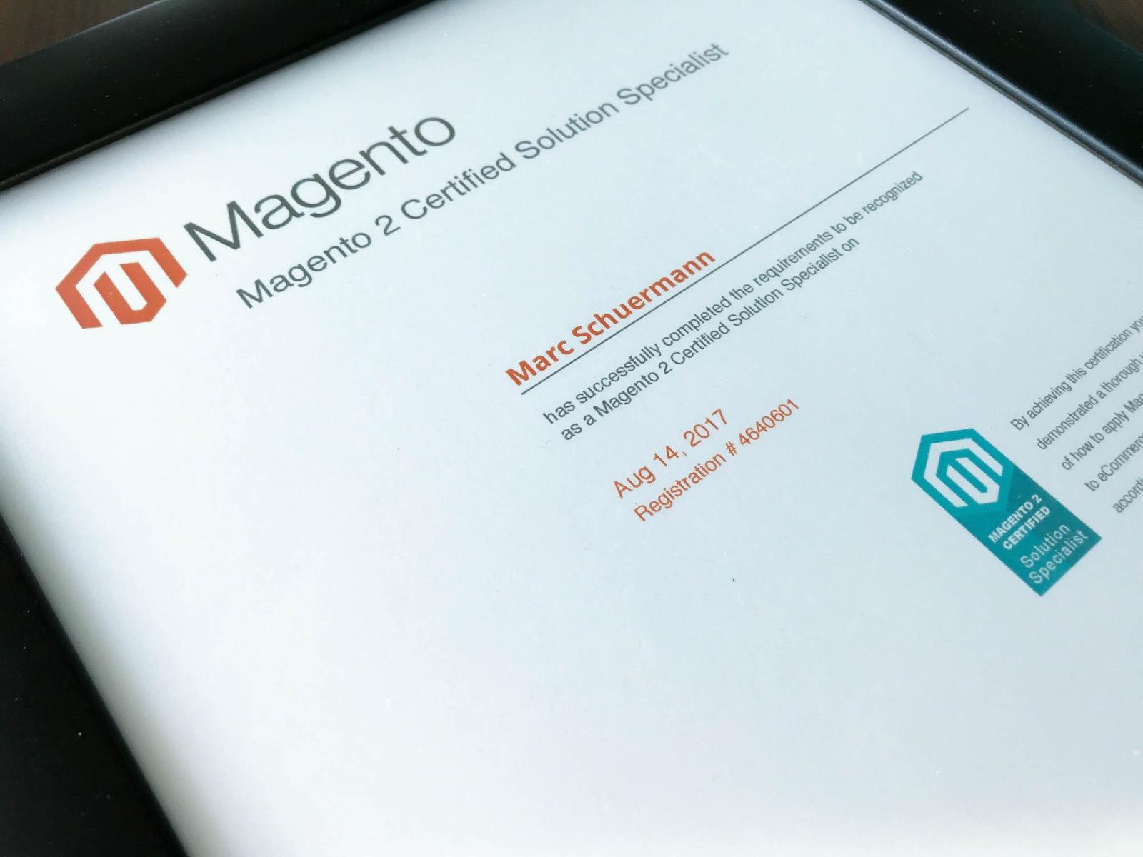 Magento 2 Solution Specialist Zertifizierung Marc Schürmann